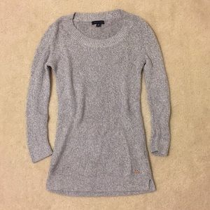 Tommy Hilfiger Gray Knit Crew Sweater 3/4 sleeve